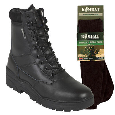 Black Patrol Combat Boots Leather Army Tactical Cadet Military Police With Socks