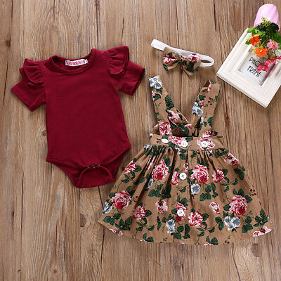3PCS Newborn Infant Baby Girl Outfits Clothes Set Bodysuit+Strap Dress+Headband