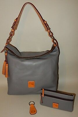 23c9c8ed895c DOONEY   BOURKE Smooth Leather Hobo in Charcoal -  132.99