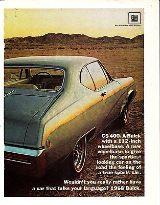 1968 Buick Gs 400 ~ Great Originl 2-Page Muscle Car Ad