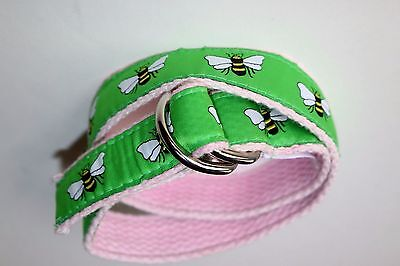 A. Tierney Girl's S Belt Bees on Green Ribbon, Pale Pink Webbing Chrome D-Rings