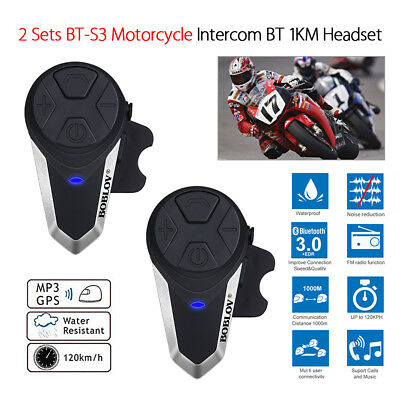 2x BT-S3 Motorrad Bluetooth Intercom 1 KM Helm Headsets GPS+Hard Line Hörmuschel