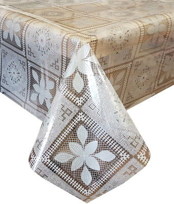Pvc Table Cloth Clear Pompeya Off White Floral Square Geo Leaves Grey Wipeable