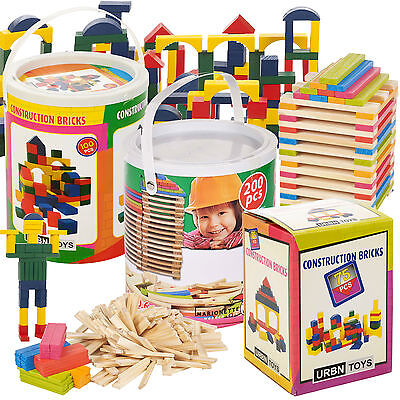 Classic Wooden Construction Building Blocks Bricks Kids Toy Set Pieces Xmas Gift