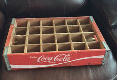 Vintage Wooden Coca Cola Box Bottle Crate With Handles AND METAL CORNERS 18 X 12