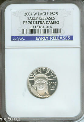2007-W $25 PLATINUM STATUE of LIBERTY 1/4 Oz. NGC PF70 PROOF PR70 EARLY RELEASES