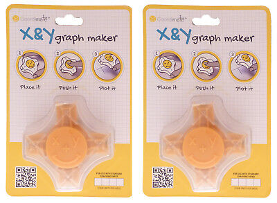 CoordiMate Self-inking X and Y Graph Stamps, Yellow, Inch Measurement, Lot of 2