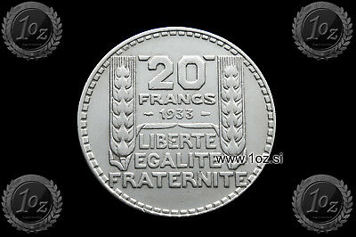 FRANCE 20 FRANCS 1933 SILVER Common Coin (KM# 879) VF-XF