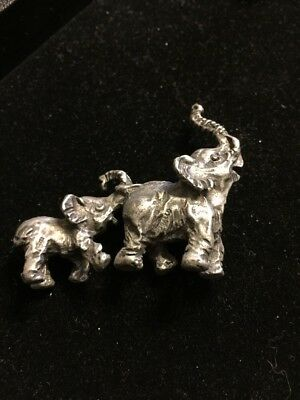 Gallo Pewter Mother And Baby Elephant