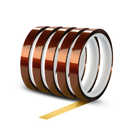5 Rolls 10mm X 30m(100ft) High Temperature Heat Resistant Kapton Polyimide Tape