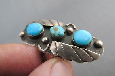 Vintage Old Pawn Sterling 3 Stone Turquoise Stack Half Finger Ring