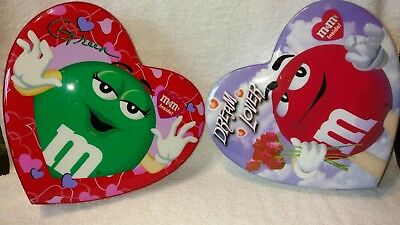"M&M's Valentine Green ""I melt for no one"" & Red ""Dream Lover"" 10"" Candy Boxes"