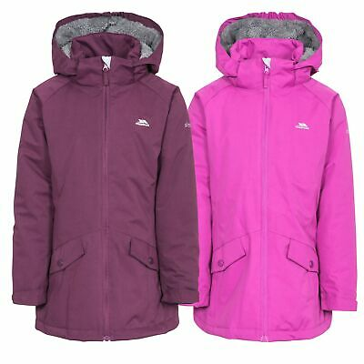 Trespass Moonstar Girls Waterproof Jacket Padded Hooded Raincoat in Purple