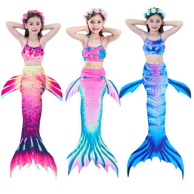 d1bbe47aae4a8 Kids Girls Shiny Fin Mermaid Tail Monofin Swimming Costume Swimmable Pool  Party