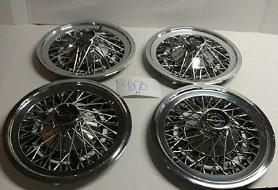 """77 78 79 Ford Thunderbird 15"""" Wire Hubcaps Hub Caps Used Oem Set D4Sz1130G 727"""