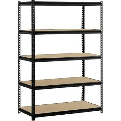 "Muscle Rack 48""W x 24""D x 72""H 5-Shelf Steel Shelving Black Home Organization"