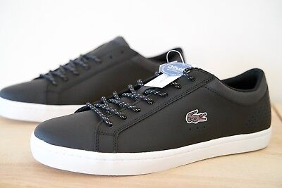 51f621ee6 Lacoste Straightset S416 1 SPM Leather Mens Trainers Shoes Size UK 9.5  Black P04