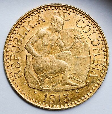 CHOICE & LUSTROUS 1913 Columbia Gold 2 1/2 Pesos - LOW MINTAGE - 18,000 Coins