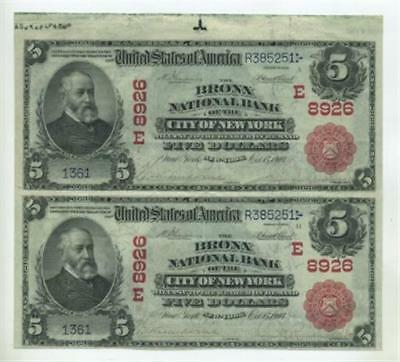 1902 $5 Red Seal The Bronx National Bank City of New York, Uncut Pair, Fr-589