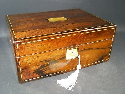 Antique Document Box Working Lock & Key 1870 Rosewood + Mother Of Pearl Center