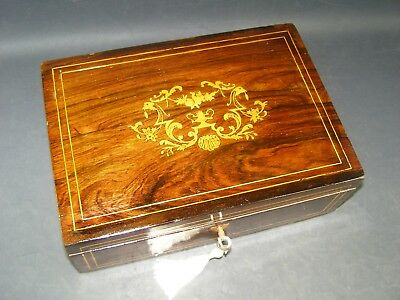 Antique Box Working Lock & Key 1880 Rosewood With Boxwood Inlaid Center Piece