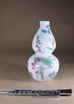 Chinese Double Gourd Porcelain Vase Flowers & Foliations