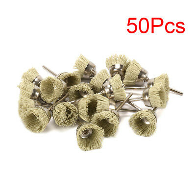 """50Pcs 1"""" Mini Y Type Abrasive Nylon Cup Brush 3mm Shank Cleaning For Jewelry New"""