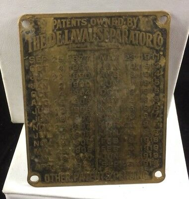 Original Vintage Brass Tag From DeLaval Cream Separator Patents Owned 1919