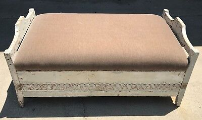 Antique Carved French Farmhouse Storage Bench / Ottoman Velvet Upholstered Seat