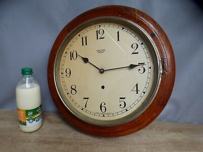 "A Quality Smiths Enfield Oak Cased 15"" School House Clock With Modern Movement"