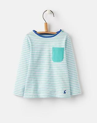 Joules Oscar Striped Top in Turquoise Stripe