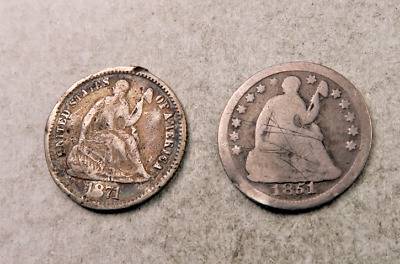 1851-O+1871-S Seated Liberty Half Dime Lot // 2 Coins // (HDL39)