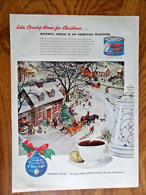 1951 Maxwell House Coffee Ad American Tradition Coming Home for Christmas