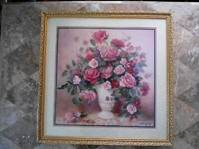 Home Interiors Romantic Pink Roses Elegance Picture Beautiful Gold frame
