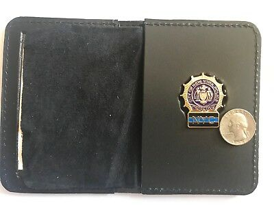 NYC. Detective Thin Blue Line  Mini Shield  Leather Wallet ID (plain)