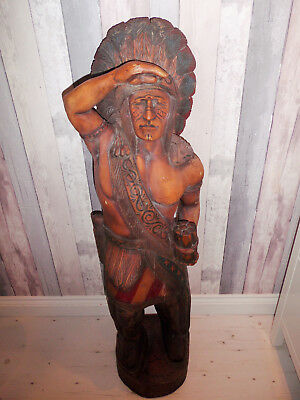 Antique Carved Wooden Indian Chief Shop Display Cigar Store Trading Post Mancave