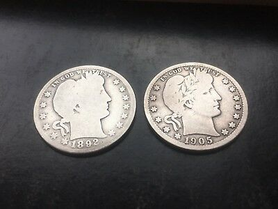 Lot of 2 Barber Quarter Dollars - 1892-O and 1905-S - US Coins