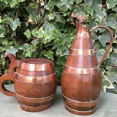 Antique Wine Carafe French Antique Barrel Tankard Copper Strapped Oak Pitcher