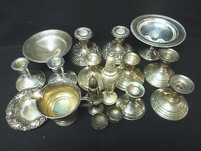 Sterling Silver Lot Candleholders Bowls Etc. For Scrap 17 pcs. Total (VR)