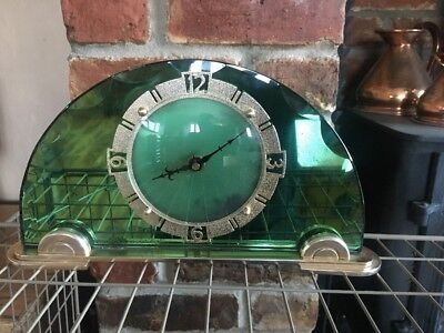 Art Deco Clock Green Mirror Glass Mantle Shelf Antique Vintage