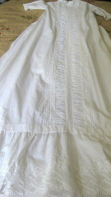 """Antique Victorian Christening Gown Tucks Ruching 10""""  Ayrshire lace Border"""