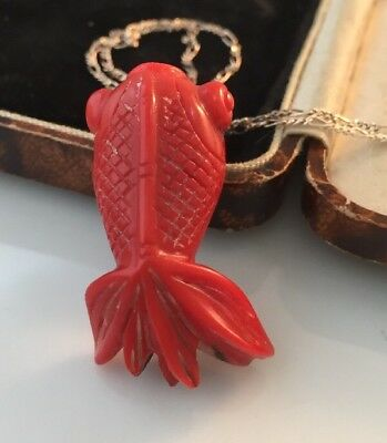 Vintage Antique Jewellery Beautiful Chinese Carved Coral Koi Carp Fish Pendant