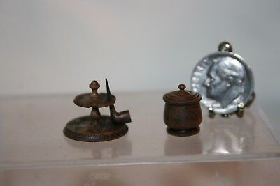 Miniature Dollhouse Artisan Wood Pipe Holder Smoking Pipe & Tobacco Jar w Lid NR