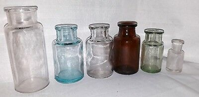Apothecary Vintage Jar Lot of 6! Blue, brown and clear glass.
