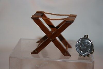 Miniature Dollhouse Wood & Leather Folding Luggage Suitcase Caddy/Rack 1:12 NR