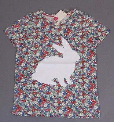 Mini Boden Girl's Floral Flock Printed Bunny Tee AB4 Multi-Color Size 9-10yrs