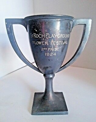 Art Deco 1924 Trophy Cup Silverplate Saint Roch Flower Competition (New Orleans)