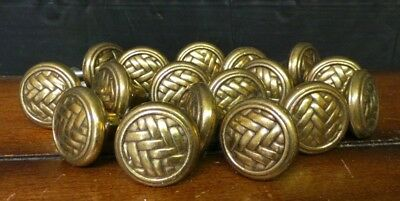 Lot of 17 Vintage Brass Cabinet Drawer Knobs Pulls Weave Motif with Screws