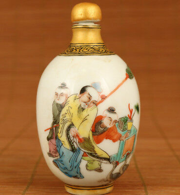 chinese old porcelain hand painting royal life statue art snuff bottle gift