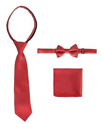 Boys Solid Zipper Neck Tie+ Bow Tie+ Pocket Square Set Toddler Kids 2T-18 New